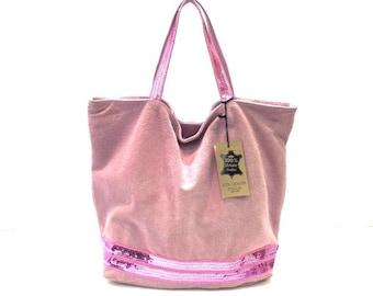 Powder Pink Suede Tote Bag.