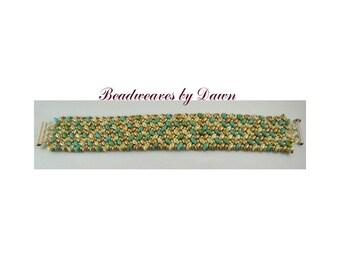 Turquoise Cream Gold Bracelet, Peyote Bracelet, Beaded Bracelet, Seed Bead Bracelet, Cuff Bracelet, Beadwoven Bracelet, Beaded Cuff, Ladies