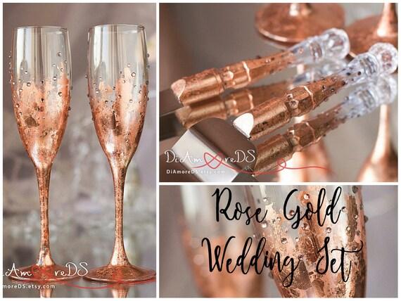 Rose Gold Wedding Toasting Glasses and Cake Server Set Rose