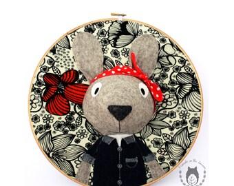 Rosie the Riveter, rabbit hoop art,  woodland nursery, girl power, gifts for feminists,  feminism, 3D art,animal portrait, baby shower gift