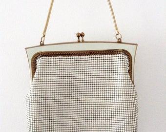 Vintage Glomesh White Mesh Bag, Gold Chain Handle, Glomesh Tag, Made in NSW Australia, 1970s Glomesh