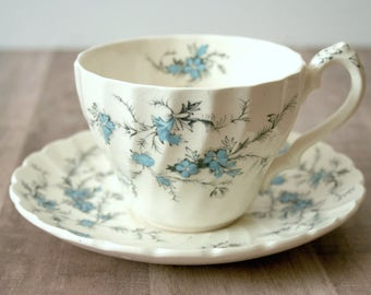 Myott Staffordshire Forget Me Not Teacup & Saucer, Myott England Fine Staffordshire Ware China Tea Cup, Blue Floral Teacup, Flower Teacup