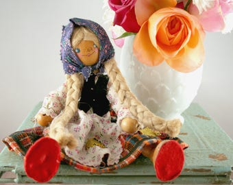 Vintage Wood Bead Doll, Vintage Wood Doll, 1970s Vintage German Doll, Bendable Doll, Blonde Braid Doll, Poseable Wood Doll, German Souvenir