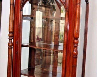 Antique French Victorian China Display cabinet mahogany Beveled Glass sides Mirror Locking door  Nation Wide Shipping Available