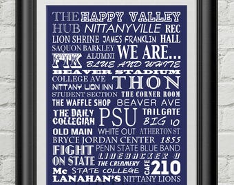 Penn State University Nittany Lions Subway Scroll Art Print Wall Decor Saquon Barkley Typography Inspirational Poster Motivational