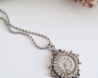 Tiffany necklace with Chanel vintage button and Crystal
