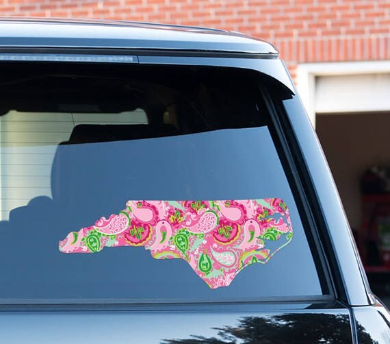 Home State Car Decal Lilly Inspired Car Stickers Car Decor Cute Car Accessories Car Decals Vinyl Decal For Yeti North Carolina State
