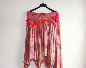 Pink Gypsy skirt, Nuno Felted Upcycled Indian Silk Skirt, Pink Paisley Print Silk Asymmetrical Skirt Size 6/8 Boho Skit, Festival Wear,