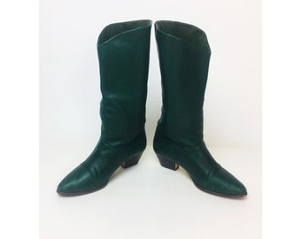 """80's Vintage Green Leather Boots Size 8 - Forest Green Tall Leather Boots - 2"""" Heel Leather Dark Green Tall Pointy 1980's Casual Vintage"""