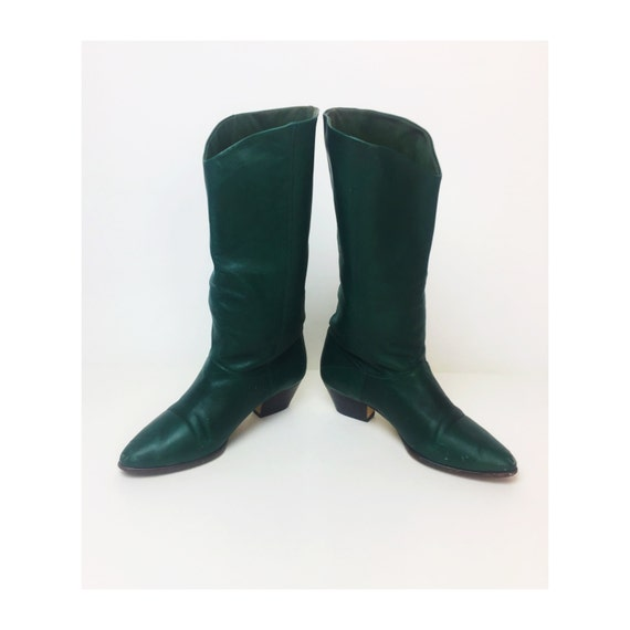 "80's Vintage Green Leather Boots Size 8 - Forest Green Tall Leather Boots - 2"" Heel Leather Dark Green Tall Pointy 1980's Casual Vintage"