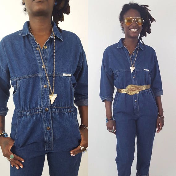 80's Dark Denim Jumper Pants Suit Small - Utility Minimalist Jumpsuit Pants One Piece Suit - Vintage 1980s Snap Front Jean Onesie w/ Pockets