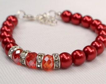 Red Pearl Bracelet, Red Pearl & Crystal Bracelet, Red Bracelet, Red Crystal Stacking Bracelet, Crystal Rhinestone Bracelet  (B131)