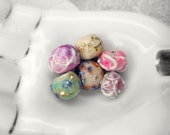 Polymer Clay Beads -  6 Small Rustic Beads - Faux Lampwork - Pink, White, Green - Spring Floral - Faux Frit, Glitter, Gloss Glaze