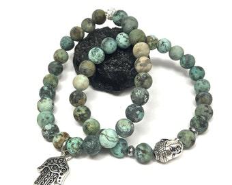 Matte African Turquoise Stretch Bracelet Set