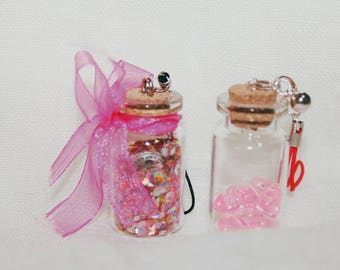 Glass Cruet shaped Keychain with Glitter Pink and beads