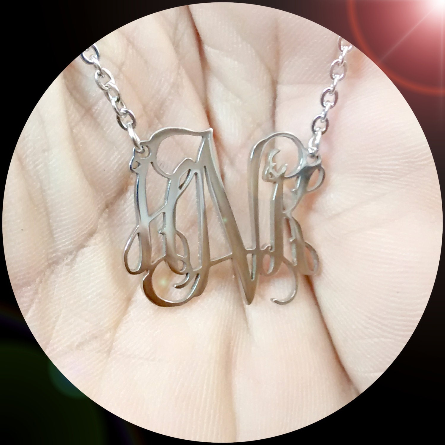 surg jewelry steel monogram necklace custom metal jewelry surgical 2902