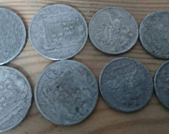 Lot of eight 1940s aluminium coins 5&10 cents
