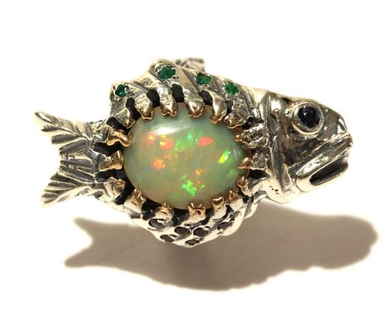Natural Opal Fish Ring -  Sterling Silver -  Handmade - Custom Gemstone Jewelry #1441 Watch Video!