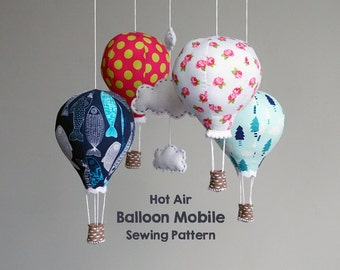 PATTERN - hot air balloon baby mobile - modern nursery decor