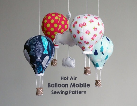 PATTERN Hot Air Balloon Baby Mobile Modern Nursery Decor
