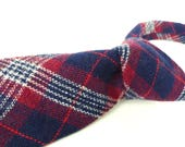 Dark red & navy blue plaid wool tie by Wembley. A true vintage classic. Authentic old school preppy style. Timeless design.
