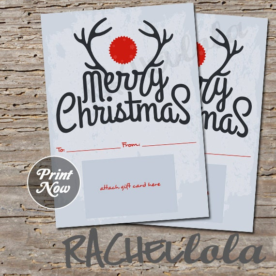 Items Similar To Printable Christmas Gift Card Holder
