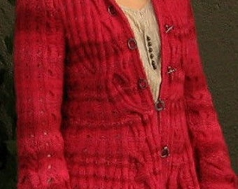 Hand Knitted Coat, Red Cardigan, Wool Jacket, Merino Wool Womens Sweater. Made for order.