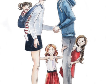 Custom Family Portrait Illustration Watercolor Painting