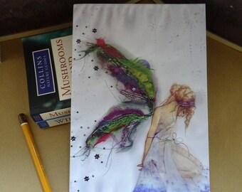 Fabric Faerie A5 Notebook/Sketchbook/Workbook/Recycled Notebook/Journal/Fairy Notepad/Fairy art/Healing art/Faerie art/Peaceful Fairy