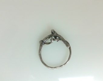 Oxidised, gothic, baroque, fused, recycled silver ring