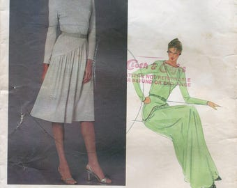 80s Vogue International Designer 2718 Belinda Bellville Misses' Dress Sewing Pattern UNCUT