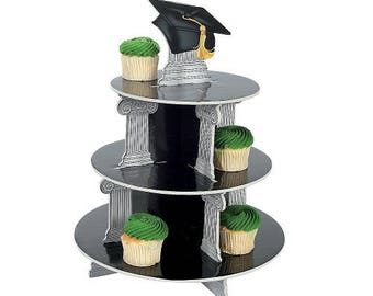 Graduation Cupcake Display Stand Tower Party Black Grad Cap Foam Tray
