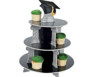 Graduation Cupcake Display Stand Tower Party Black Grad Cap Foam Tray