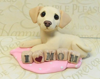 Yellow Labrador Retriever, Yellow Lab Lover MOM Sculpture by Raquel at theWRC hand sculpted polymer clay Collectible DOG