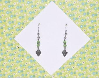 Earrings Silver Celtic Knot Irish Green Crystal Triangle #B01a