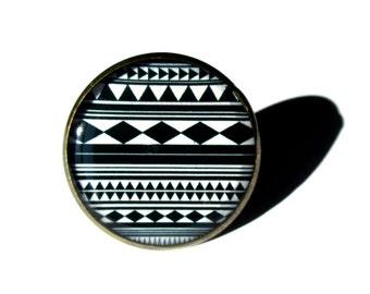 TRIBAL RING - Black and White Ring - Aztec Ring - Boho Jewelry - Mystical Ring - Gypsy Ring - Ethnic Ring - Tibetan