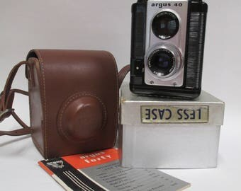 Vintage Argus Forty Camera w/ Leather Case and Instructions, Mid Century Photography 620 Film, 1950s Argus 40