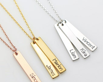 Personalized Bar Necklace N47 • Name Necklace, Name Bar Necklace, Nameplate Necklace, Gift for Her, Custom Hand Stamped, Bridesmaid Gift