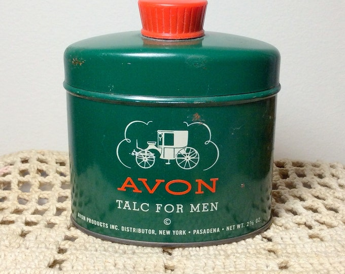 1950's Vintage AVON Talc for Men 2 5/8 oz. Canister