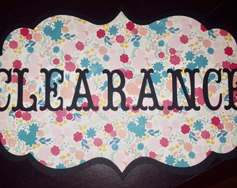 Floral and Black CLEARANCE or SALE Sign with black ribbon