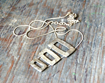 Geometric Necklace, Rustic Rectangle Necklace, Rectangular Necklace, Rustic Pendant Necklace, Boho Necklace, Bohemian Necklace