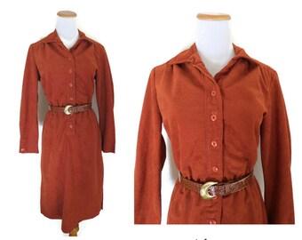 Burnt Orange Dress 70s Faux Suede Shirtdress Size Small Medium Reptile Belt Long Sleeve Midi Boho Hippie Pockets