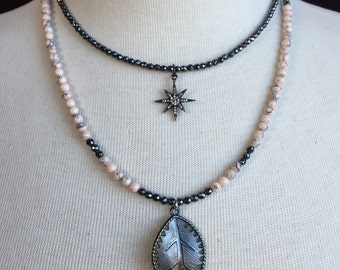 Gunmetal Leaf Pendant on Short Double Wrap Necklace with Light Coral Turquoise and Faceted Hematite