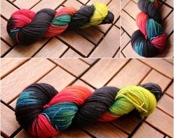 Hand dyed sock yarn superwash Merino nylon blend, Happy little Boozer