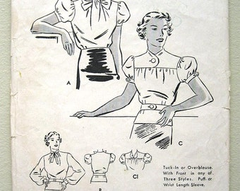 Vintage 30s Belted Blouse, Puff Sleeve Butterick 6851 Sewing Pattern. Bust 34""