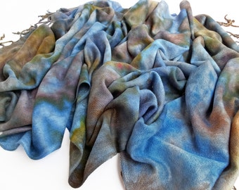 Brown scarf, blue scarf, warm brown scarf, warm blue scarf, warm scarf with fringe, purple, olive, gold, scarf, hand dyed, warm scarf vegan