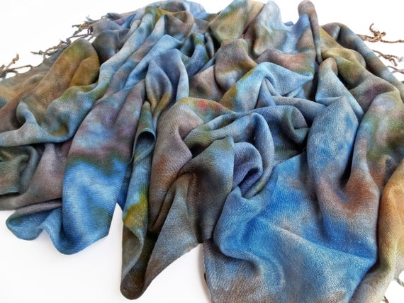 """Brown scarf - blue scarf - warm winter scarf - rayon challis - fringe scarf - blue, brown, purple, olive, gold - hand dyed - 24""""x72""""- OOAK"""