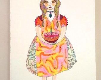 BIRTHDAY GIRL Original Illustration