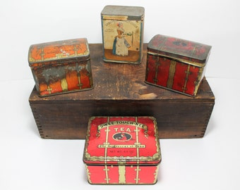 Lot of 4 Vintage Tins Swee-Touch-Nee Tea, Zvetouchny Russian Tea, Consolidated Tea Co and Baker's Breakfast Cocoa