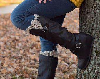 Women's Boot Cuffs - Crochet Boot Socks - Leg Warmers for Women - Wool Socks for Boots - Scalloped Boot Cuffs - Women's Boot Toppers